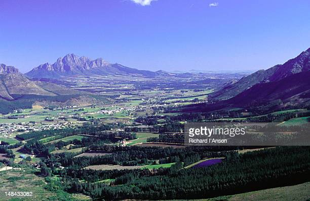 The town of Franschhoek, a famous wine growing region of South Africa