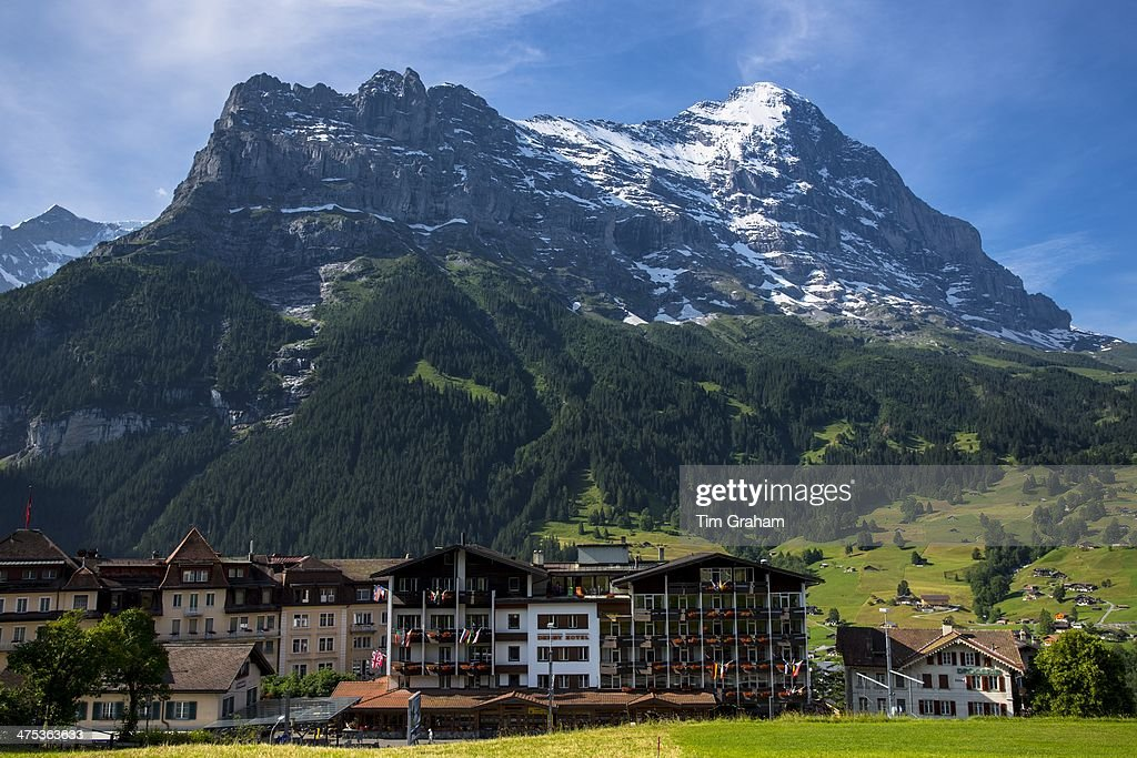 The Eiger and Town of Grindelwald in Swiss Alps : News Photo