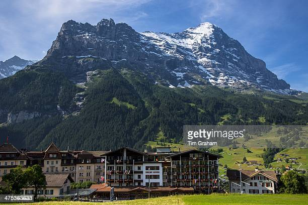 The town of Grindelwald beneath the Eiger mountain North Face in the Swiss Alps in the Bernese Oberland Switzerland