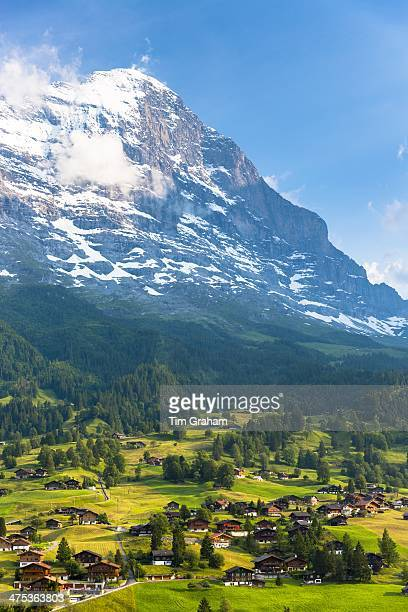 The town of Grindelwald beneath the Eiger mountain North Wall in the Swiss Alps in the Bernese Oberland Switzerland