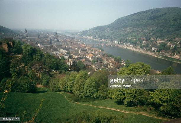 The town of Heidelberg in Germany situated on the River Neckar circa 1960