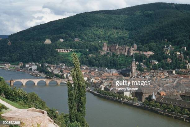 The town of Heidelberg on the River Neckar in Germany, circa 1960.