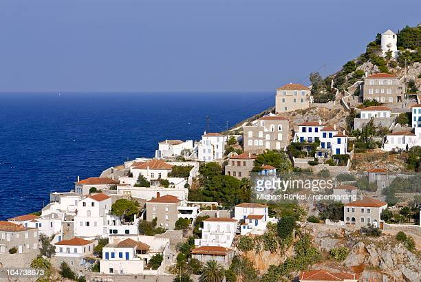 the town of hydra on the island of hydra, greek islands, greece, europe - hydra greece photos stock pictures, royalty-free photos & images