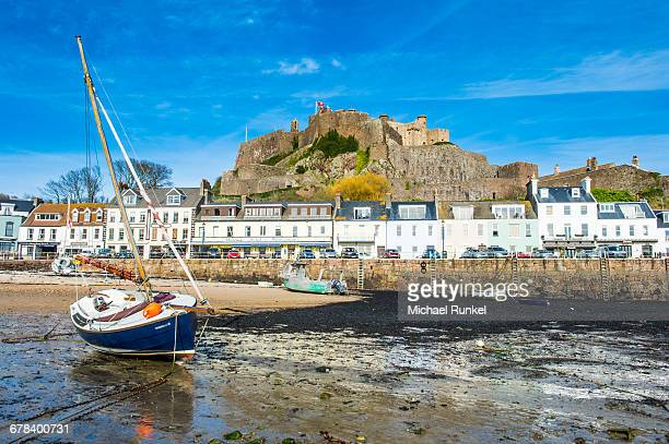 The town of Mont Orgueil and its castle, Jersey, Channel Islands, United Kingdom, Europe