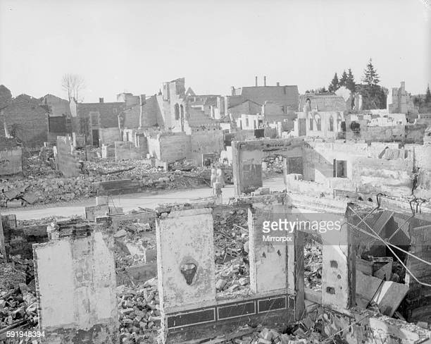 The town of Revigny destroyed by the Germans during the fighting on the Eastern flank of the first Battle of the Marne which halted the German...