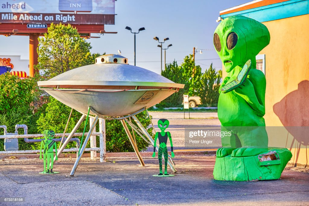 The town of Roswell, famous for location of controversial UFO crash in 1947, New Mexico, USA : Stock Photo
