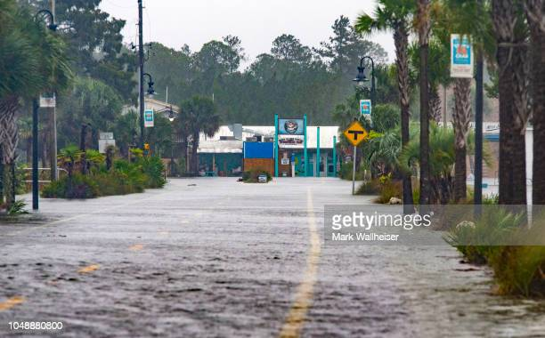 The town of Saint Marks goes underwater as Hurricane Michael pushes the storm surge up the Wakulla and Saint Marks Rivers which come together here on...