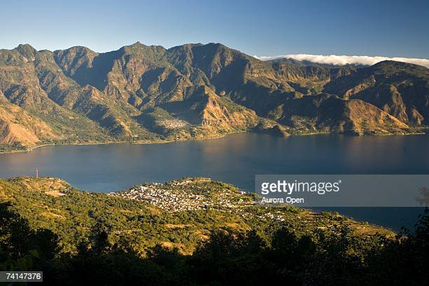 The town of San Pedro from the San Pedro volcano, Lake Atitlan, Guatemala.