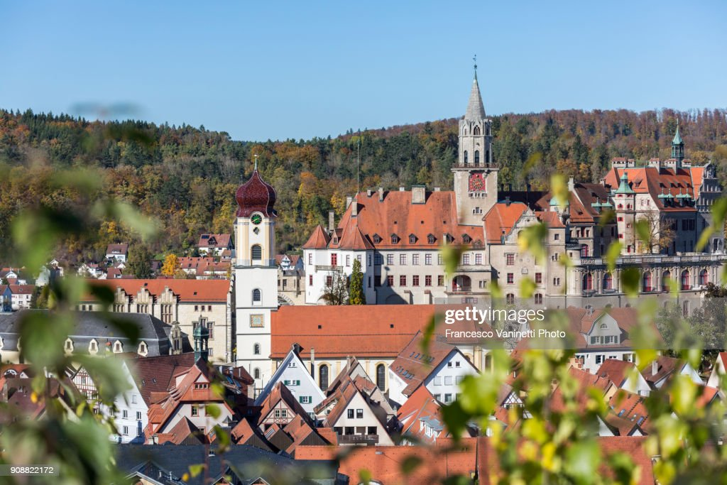 The town of Sigmaringen from an elevetad point of view. Sigmaringen, Baden-Württemberg, Germany. : Stock Photo