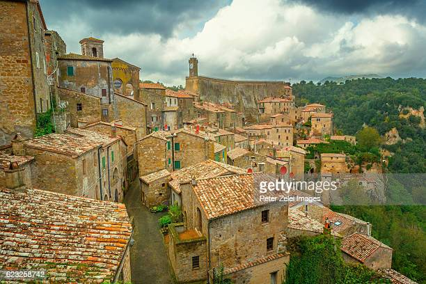 The town of Sorano in Grosseto, southern Tuscany, Italy