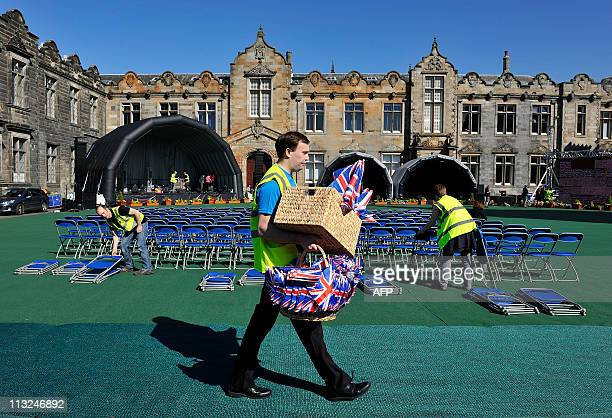The town of St Andrews in Scotland prepares April 28 for a street party to celebrate the wedding of Britain's Prince William and Kate Middleton at...