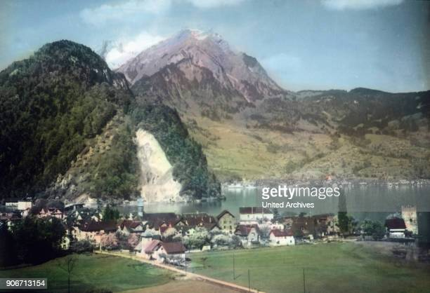 The town of Stansstad with the Schnitzturm tower at canton Nidwalden in Switzerland ca 1910s