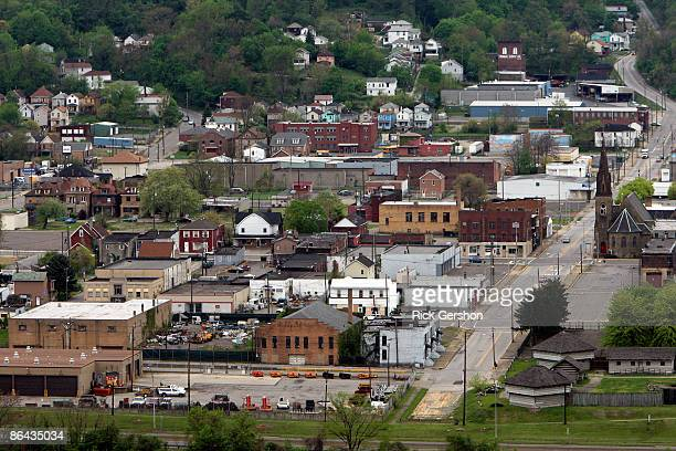 The town of Steubenville sits near the Ohio River on May 5, 2009 on the edge of Steubenville, Ohio. The Severstal Wheeling Steel Mill, one of the...