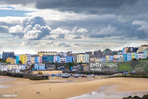 the town of tenby, wales - beach stock pictures, royalty-free photos & images