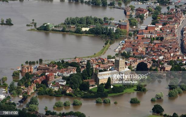 The town of Tewkesbury is submerged in receding flood waters of the River Severn and Avon on July 24 2007in Tewkesbury England Flooding has caused...