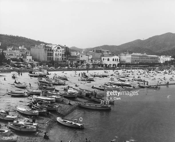 The town of Tossa De Mar on the Costa Brava June 1962 The Hotel Rovira and Hotel Avenida can be seen on the right