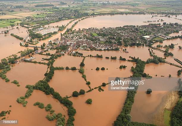 The town of Upton on Severn is pictured surrounded by flood waters, as water floods areas of Gloucestershire following the torrential rain in the...