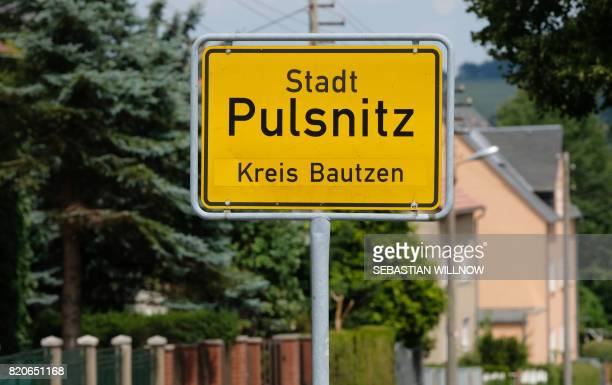 The town sign of Pulsnitz near Dresden, eastern Germany, is pictured on July 22, 2017. - A German 16-year-old girl originating from Pulsnitz and...