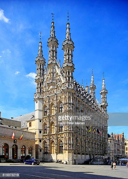 the townhall (stadhuis) of leuven, belgium - leuven stock pictures, royalty-free photos & images