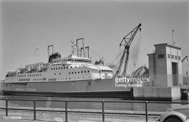 The Townsend Thoresen ferry 'MV Free Enterprise V' at the car ferry terminal at Zeebrugge in Belgium, UK, 20th August 1973.