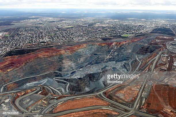 The township of Kalgoorlie stands next to the Fimiston Open Pit mine known as the Super Pit in this aerial photograph taken above Kalgoorlie...