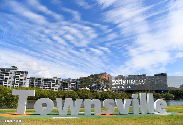 The 'Townsville' sign is seen on the banks of Ross creek in the electorate of Herbert on May 04, 2019 in Townsville, Australia. Australians will head...