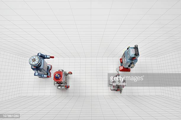 the toy of the robot of the tinplate and figure - wind up toy stock photos and pictures