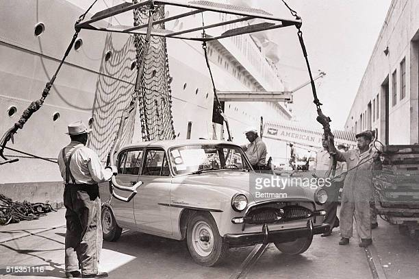 The Toyopet is the first automobile for Toyota to offer to the United States a fourdoor sedan boasting thirtyfour miles to a gallon