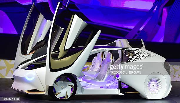 The Toyota Concepti vehicle is revealed during the Toyota press conference at the 2017 Consumer Electronics Show in Las Vegas Nevada on January 4...