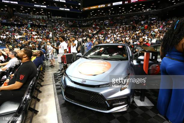 The Toyota display is seen during week four of the BIG3 three-on-three basketball league at Barclays Center on July 14, 2019 in the Brooklyn borough...