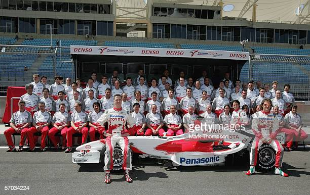 The Toyota F1 team line up for a team photo prior to the Bahrain Formula One Grand Prix at the Bahrain International Circuit on March 9 in Sakhir,...