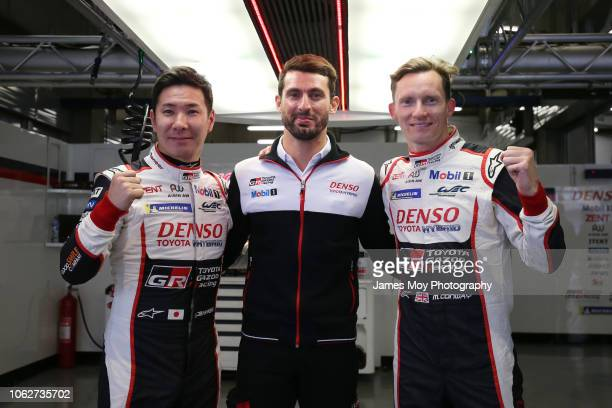 The Toyota Gazoo Racing drivers Kamui Kobayashi, Jose Maria Lopez, Mike Conway celebrate pole position for the WEC 6 Hours of Shanghai, round 5 of...