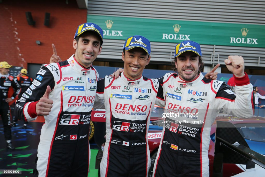 The #08 Toyota Gazoo Racing drivers Sebastien Buemi, Kazuki Nakajima, and Fernando Alonso, celebrate victory in parc ferme at the WEC 6 Hours Of Spa-Francorchamps, the opening round of the FIA World Endurance Championship Super Season at Circuit de Spa-Francorchamps on May 5, 2018 in Spa, Belgium.