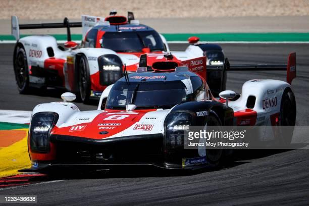 The Toyota Gazoo Racing GR010 Hybrid of Sebastien Buemi, Kazuki Nakajima, and Brendon Hartley in action during the race at Autodromo do Algarve on...