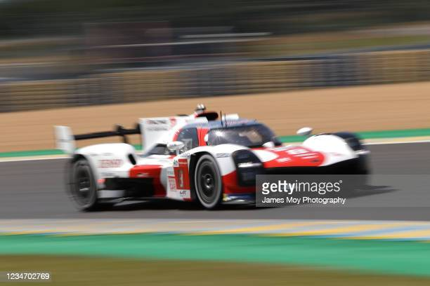 The Toyota Gazoo Racing GR010 Hybrid of Sebastien Buemi, Kazuki Nakajima, and Brendon Hartley in action at the Le Mans 24 Hour Test Day on August 15,...