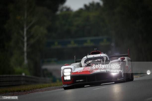 The Toyota Gazoo Racing Toyota GR010 Hybrid of Mike Conway, Kamui Kobayashi, and Jose Maria Lopez in action at the Le Mans 24 Hour Race on August 22,...