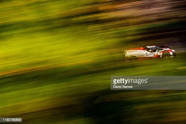 The Toyota Gazoo Racing Toyota TS050 Hybrid of Mike Conway of Great Britain Kamui Kobayashi of Japan and Jose Maria Lopez of Argentina in action...