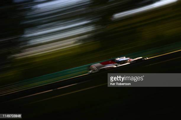 The Toyota Gazoo Racing TS050 Hybrid of Mike Conway Kamui Kobayashi and Jose Maria Lopez drives during qualifying for the Le Mans 24 Hour Race at the...