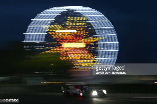 The Toyota Gazoo Racing TS050 Hybrid of Mike Conway Kamui Kobayashi and Jose Maria Lopez in action during the race during the Le Mans 24 Hour Race at...