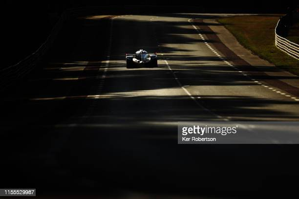 The Toyota Gazoo Racing TS050 Hybrid of Mike Conway Kamui Kobayashi and Jose Maria Lopez drives during practice for the 24 Hours of Le Mans at the...