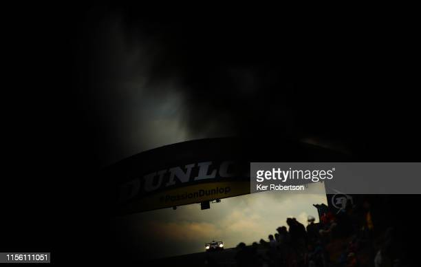 The Toyota Gazoo Racing TS050 Hybrid of Mike Conway Kamui Kobayashi and Jose Maria Lopez drives during the Le Mans 24 Hour Race at the Circuit de la...