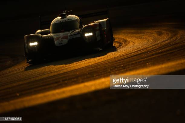 The Toyota Gazoo Racing TS050 Hybrid of Mike Conway Kamui Kobayashi and Jose Maria Lopez in action at the WEC Prologue on July 23 2019 in Barcelona...