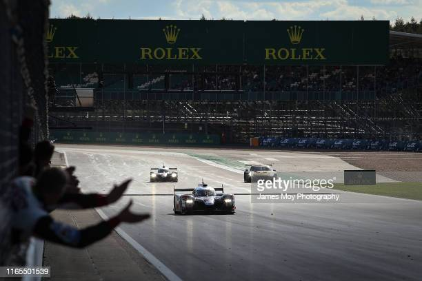 The Toyota Gazoo Racing TS050 Hybrid of Mike Conway Kamui Kobayashi and Jose Maria Lopez wins the opening WEC championship race at Silverstone...