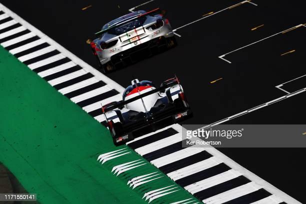 The Toyota Gazoo Racing TS050 Hybrid of Mike Conway, Kamui Kobayashi and Jose Maria Lopez drives on its way to winning the FIA World Endurance...