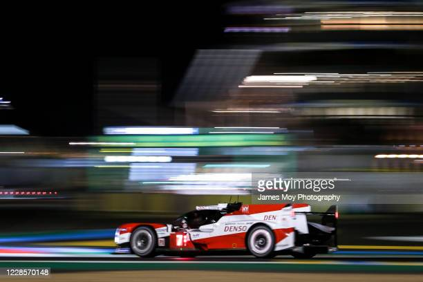 The Toyota Gazoo Racing TS050 Hybrid of Mike Conway, Kamui Kobayashi, and Jose Maria Lopez in action during practice for the Le Mans 24 Hours at the...