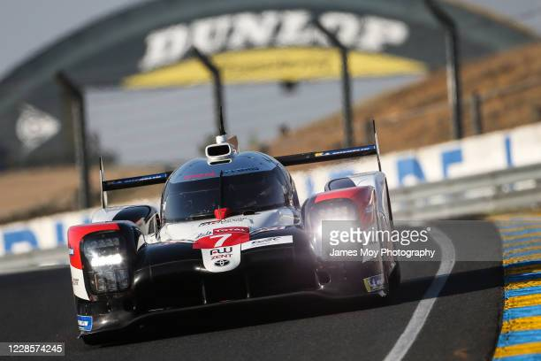 The Toyota Gazoo Racing TS050 Hybrid of Mike Conway, Kamui Kobayashi, and Jose Maria Lopez in action during Hyperpole qualifying at the Circuit de la...