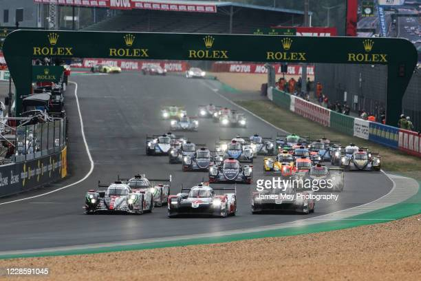 The Toyota Gazoo Racing TS050 Hybrid of Mike Conway, Kamui Kobayashi, and Jose Maria Lopez leads at the start of the race of the 24 Hours of Le Mans...