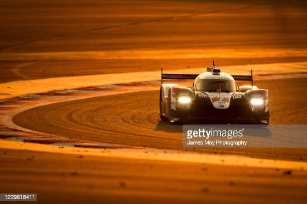 The Toyota Gazoo Racing TS050 Hybrid of Mike Conway, Kamui Kobayashi, and Jose Maria Lopez in action at the WEC 8 Hours of Bahrain at Bahrain...
