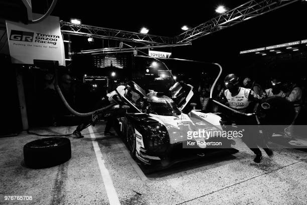 The Toyota Gazoo Racing TS050 Hybrid of Mike Conway Kamui Kobayashi and Jose Maria Lopez comes in for a pitstop during the Le Mans 24 Hour race at...