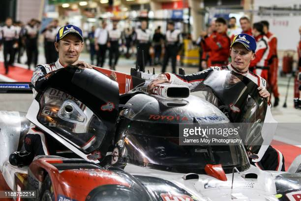 The Toyota Gazoo Racing TS050 Hybrid of race winners Mike Conway, Kamui Kobayashi, and Jose Maria Lopez celebrate in parc ferme at the end of the...